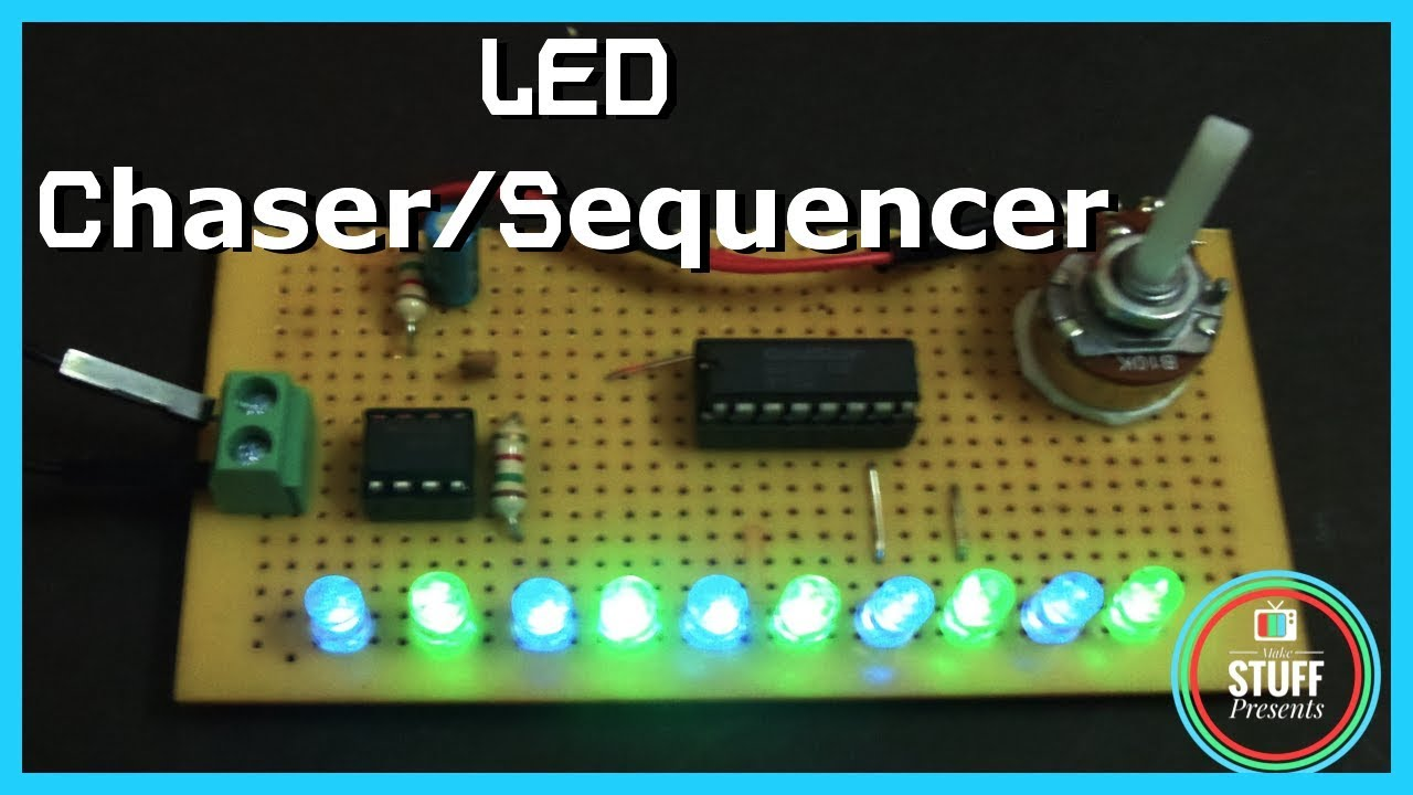 Running Led Led Chaser Or Sequencer Using 555 4017 Youtube