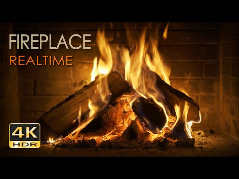 4K HDR Fireplace REALTIME - 6 Hours - Relaxing Fire Burning Video & Crackling Sounds - NO LOOP -