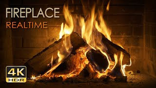 4K HDR Fireplace REALTIME - 6 Hours - Relaxing Fire Burning Video & Crackling Sounds - NO LOOP - UHD
