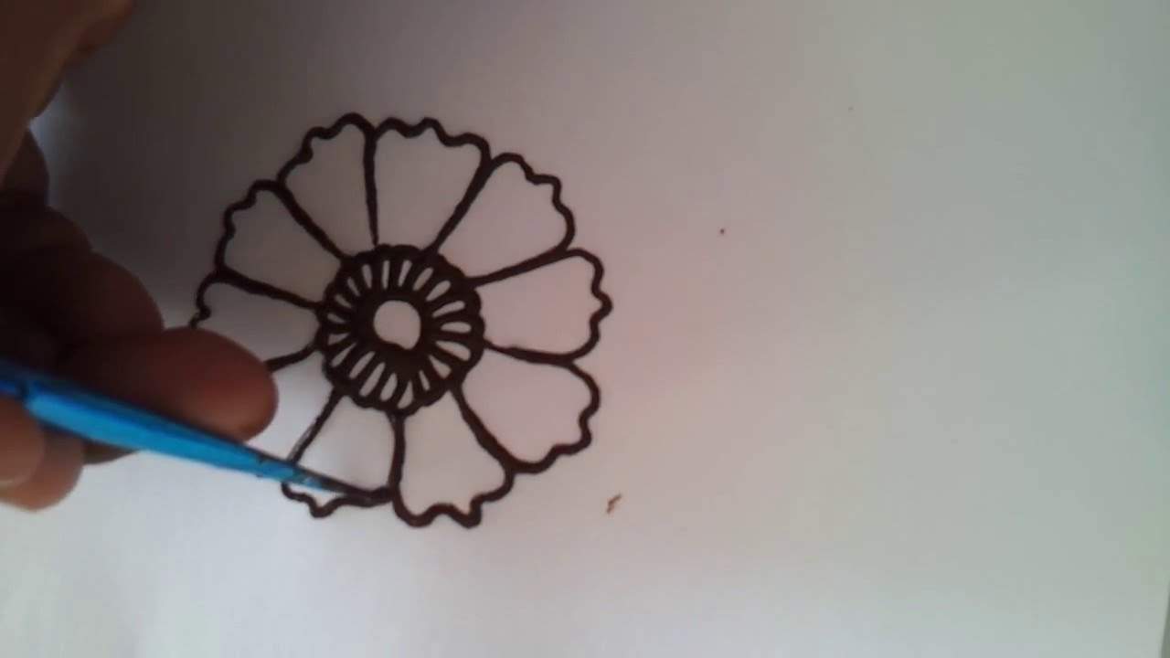 Simple henna flower tutorial youtube for Simple flower drawing tutorial