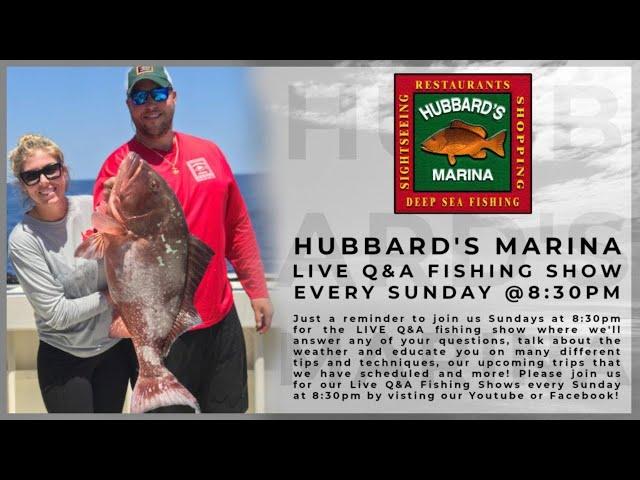 Sunday night's LIVE STREAM FISHING SHOW 8:30PM weekly!   https://HubbardsMarina.com