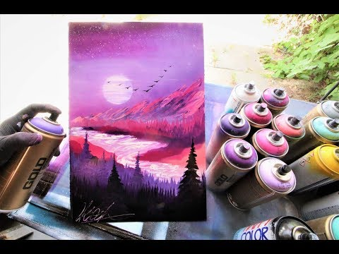 Pink Purple Sunset - SPRAY PAINT ART by Skech