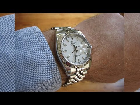 Rolex Datejust 116234 white dial Jubilee Band Steel and White Gold luxury  watch shining on wrist
