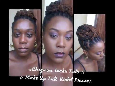 Chignon Locks Tuto Make Up Violet Prune Tuto Youtube