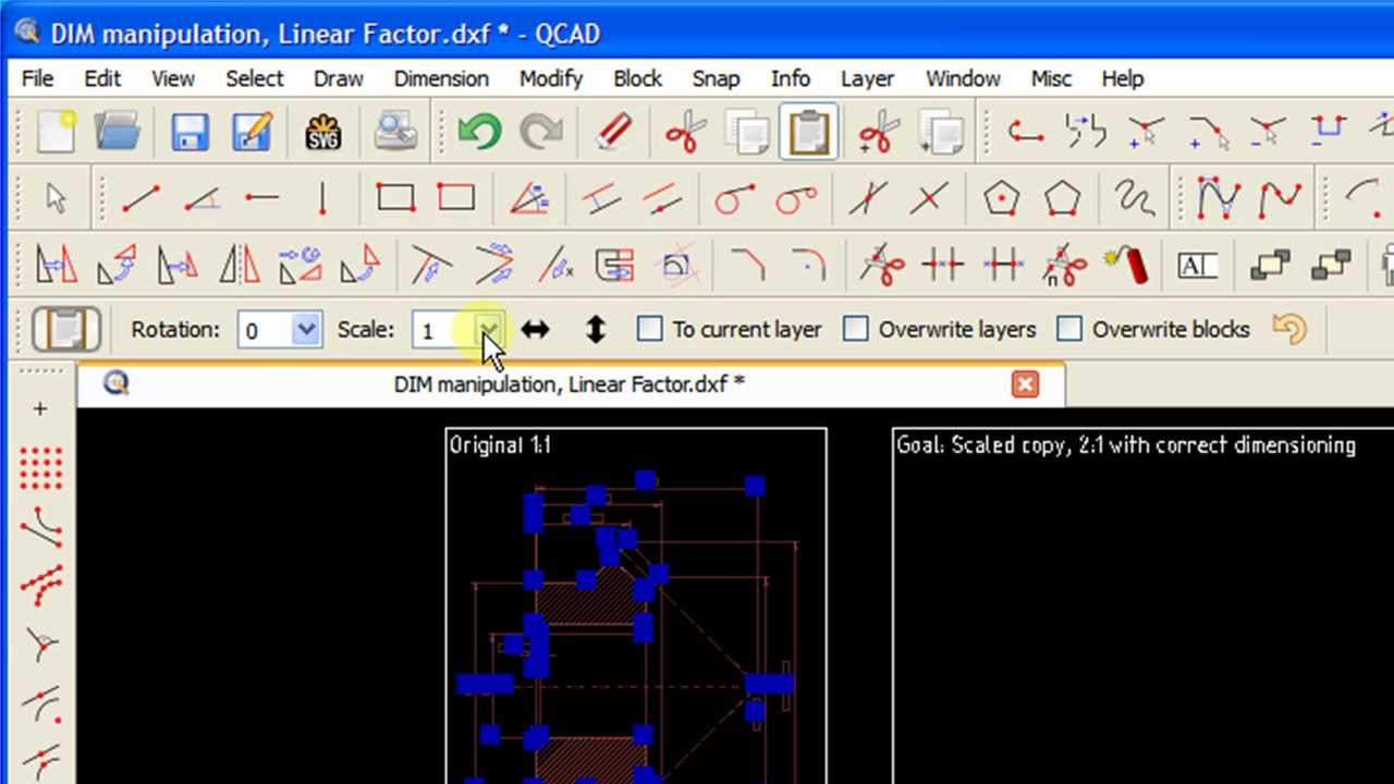 CAD Tutorial (Q&E): Dimension manipulation, Linear Factor in QCAD
