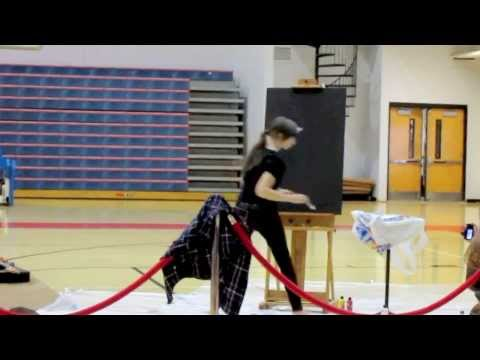 CHS Student Is Speed Painting Upside Down In School Talent Show