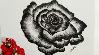 How to draw a rose flower|rose flower pen sketch|simple rose flower|beginners friendly