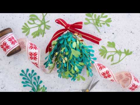 DIY Paper Mistletoe Kissing Ball Tutorial with Free Template thumbnail