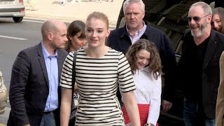 EXCLUSIVE: Sophie Turner, Maisie Williams and Liam Cunnigham at a FNAC signing in Paris