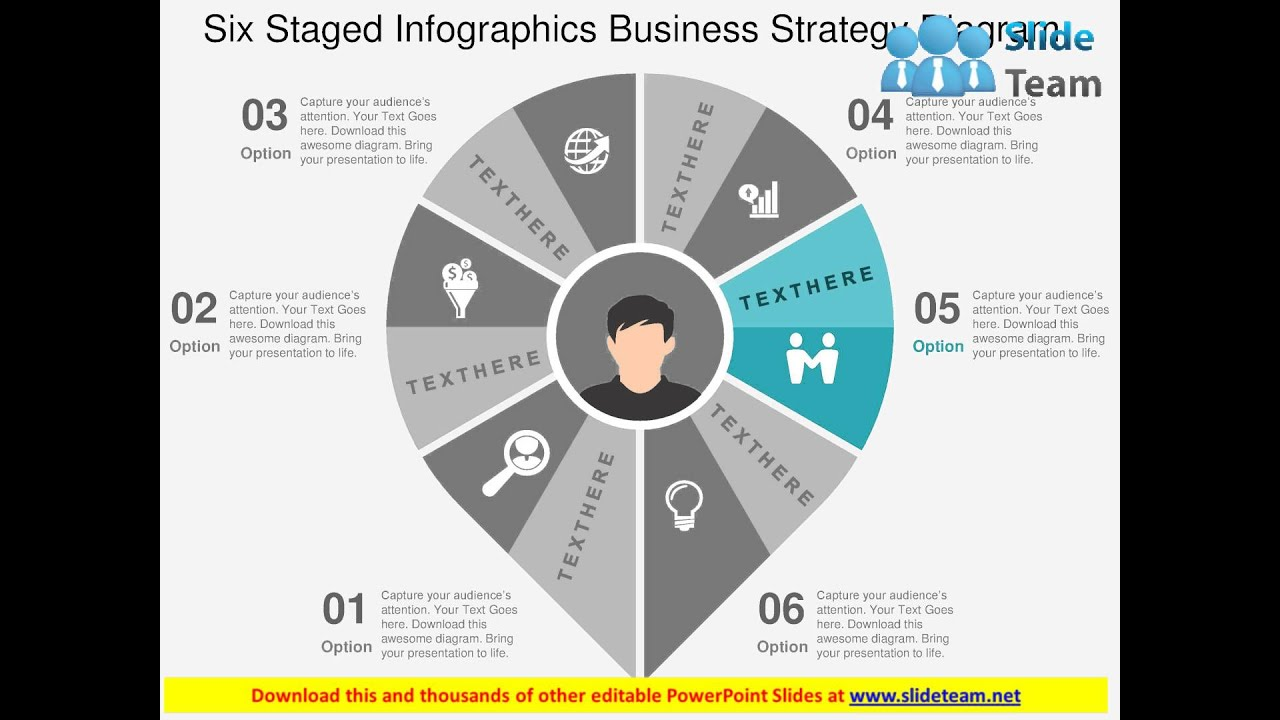six staged infographics business strategy diagram flat powerpoint ...