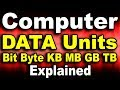 कंप्यूटर डेटा मेमोरी यूनिट्स क्या होते है Bit, Byte, KB, MB, GB, TB, PB Computer Data Memory Units