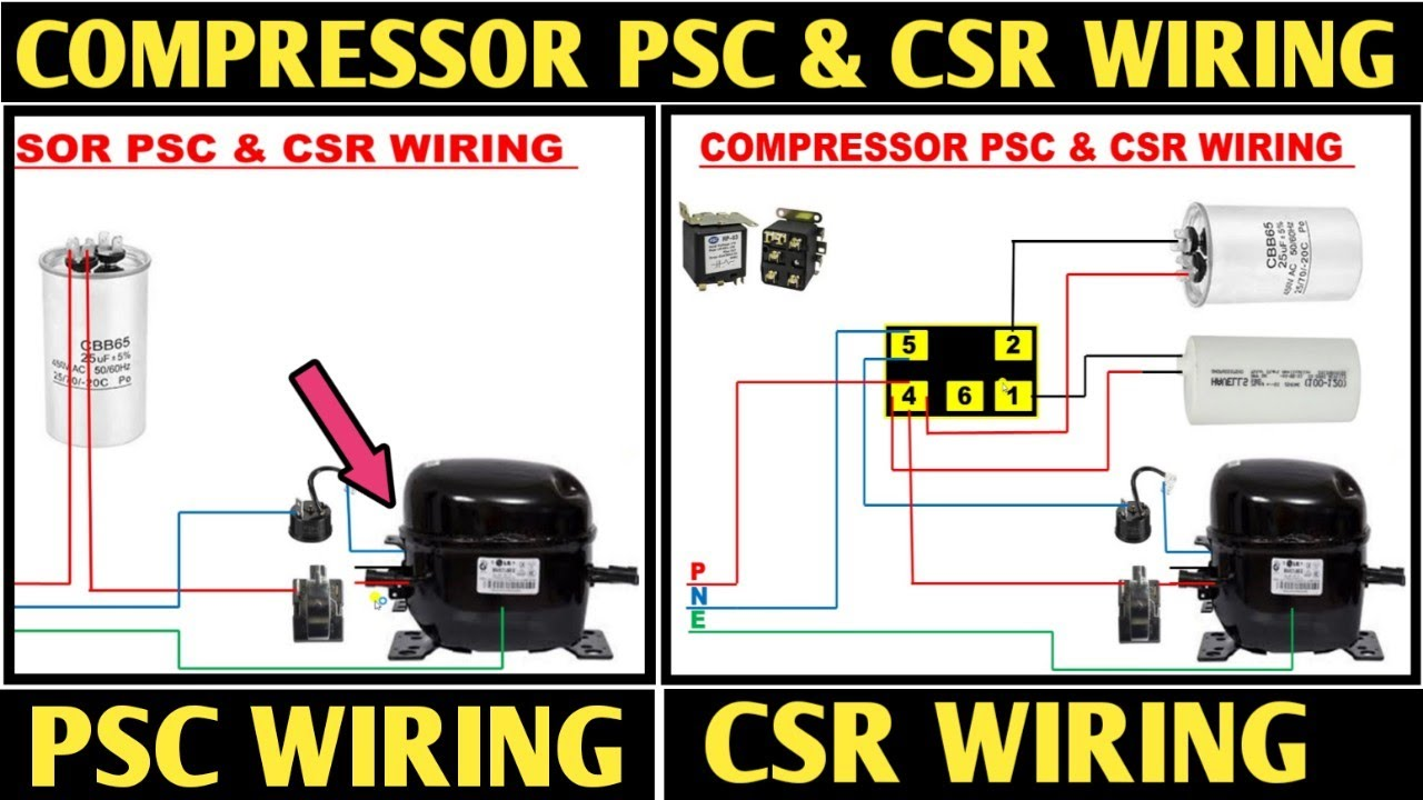 PSC & CSR WIRING IN AIR CONDITIONER! COMPRESSOR CSR WIRING! WINDOW AC CSR  WIRING - YouTube | Psc Compressor Wiring Diagram |  | YouTube