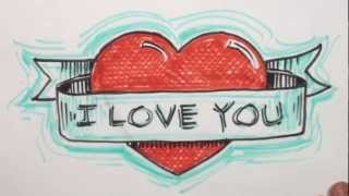 How to Draw Heart with Banner - I Iove You Drawing - MAT