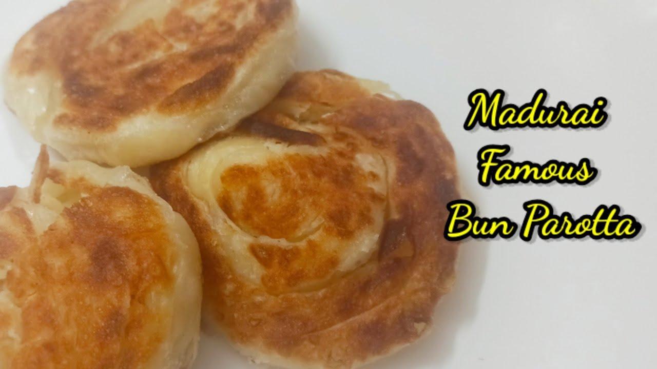 மதுரை Spl பன் பரோட்டா, How to make a Bun Parotta recipe in Tamil HomeTown Cooking Street food recipe