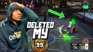 I deleted my 99 overall stretch big on NBA 2K19! My last game as a DEMIGOD! Best Build 2k19!