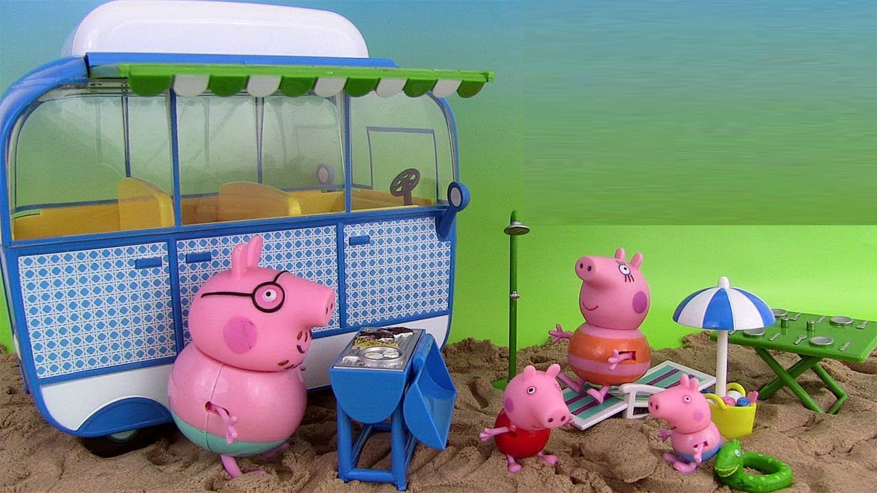 peppa pig camping car de vacances jouet holiday campervan playset youtube. Black Bedroom Furniture Sets. Home Design Ideas