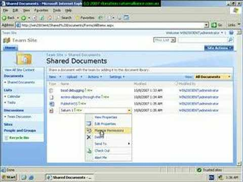 Document Libraries in Sharepoint 2007 - Part 1 - YouTube