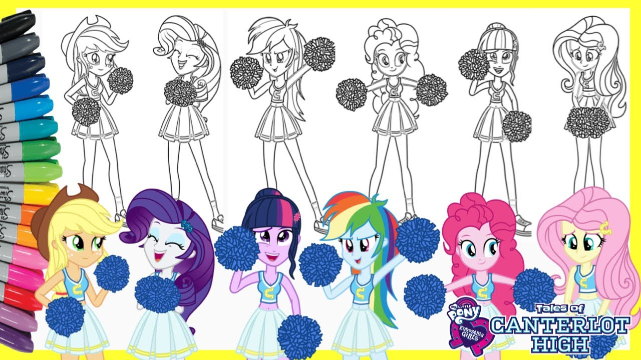 My Little Pony Equestria Girls Coloring Pages Cafeteria Song Canterlot High Mewarnai Kuda Poni Anime Youtube
