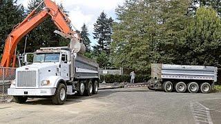 Peterbilt 378 Dump Truck and Pup Trailer Working