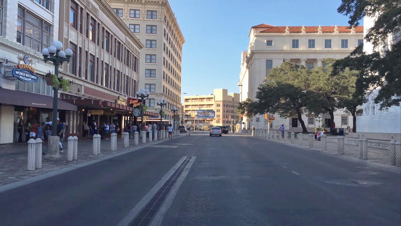 Driving Downtown Alamo Plaza San Antonio Texas Usa