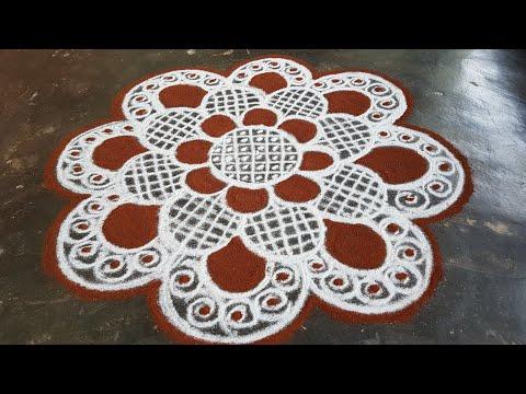 Aani matham Kolam//Pandaga muggulu//easy rangoli//9
