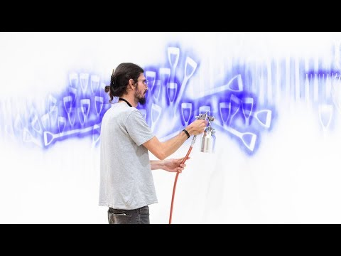 Watch as Dale Harding creates his 'Wall Composition in Reckitt's Blue' 2017