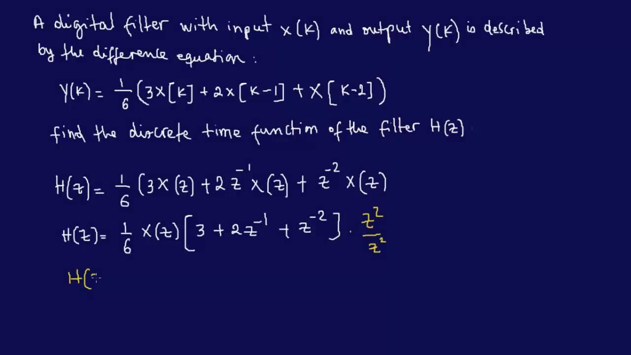 medium resolution of finding discrete time transfer function using z transform