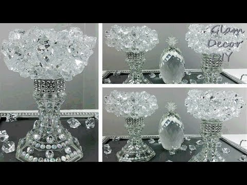 Dollar Tree DIY Glam Bling Crystal Candle Holders