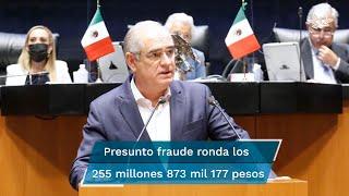 El coordinador del PAN en el Senado acusó al presidente López Obrador, a Claudia Sheinbaum y a Miguel Díaz-Canel de orquestar un fraude de 255 millones 873 mil 177 pesos al presupuesto de salud
