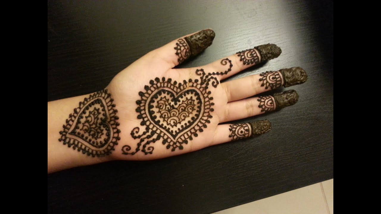 Simple Henna Designs: Easy Hearts Shaped Mehendi