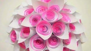 DIY Paper Tutorial 3D. Wedding Backdrop Flowers. ШИКАРНЫЙ Объемный Цветок из бумаги с розами!