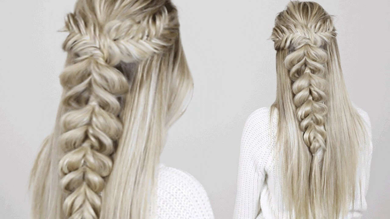 Half-up Half-down Hairstyle | Fishtail into Pull Through Braid - YouTube
