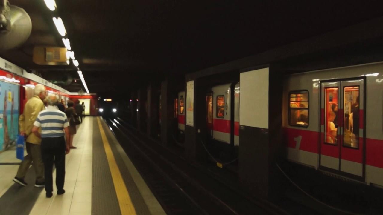 ATM Milan Metro Line 1 trains at Duomo - YouTube