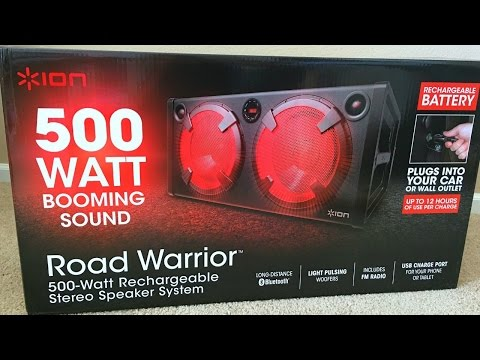 ION 500 WATT ROAD WARRIOR RECHEARGEABLE STEREO SPEAKER SYSTEM unboxing and review