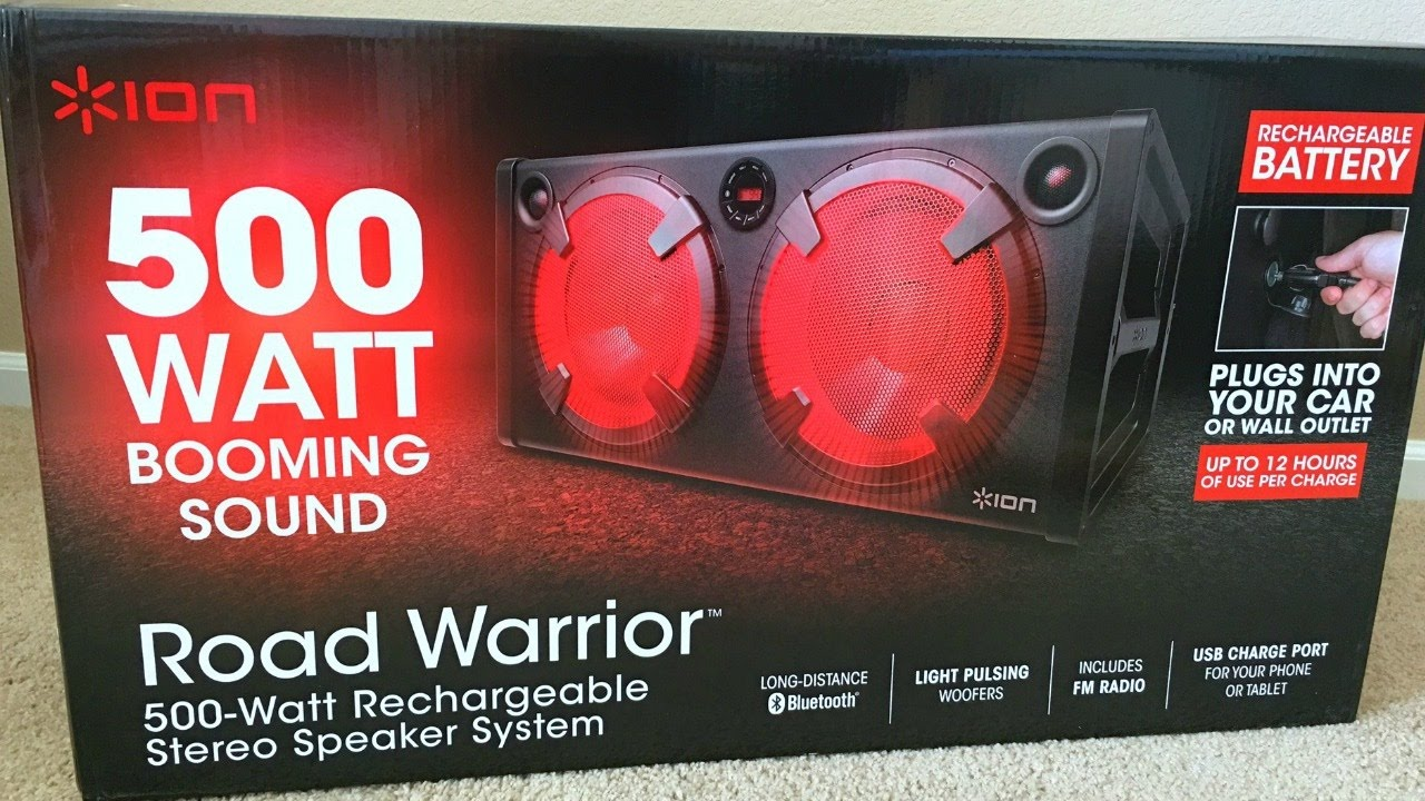 ion 500 watt road warrior recheargeable stereo speaker. Black Bedroom Furniture Sets. Home Design Ideas