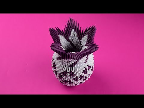 How to make an amazing paper vase 3D origami. Tutorial DIY