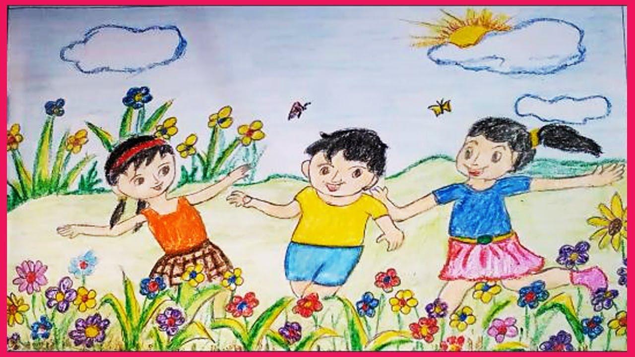 Children Garden Drawing Contoh Soal Pelajaran Puisi Dan Pidato Populer