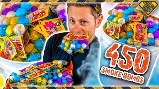 Experiment: Lighting off 450 Smoke Bombs! King Of Random Tests How To Make The Biggest Smoke Bomb