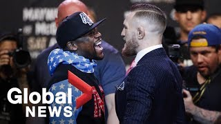 Floyd Mayweather vs. Conor McGregor face off full press conference ahead of August showdown thumbnail