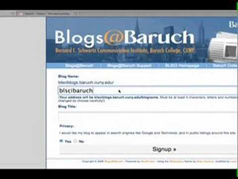 Registering for a Blog