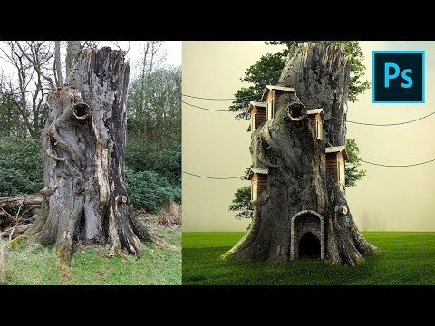 Photoshop Tutorial Manipulation Effects - Tree Cottage