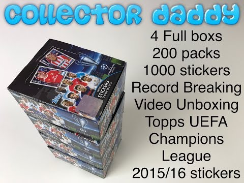 4 Full boxes 200 packs 1000 sticker record breaking unboxing Tops Uefa champions league 15/16