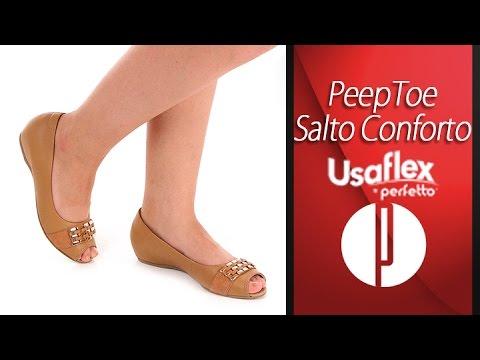 b03b7a400 Peep Toe Rasteiro Conforto Feminino Usaflex by Perfetto - 6091498783 ...