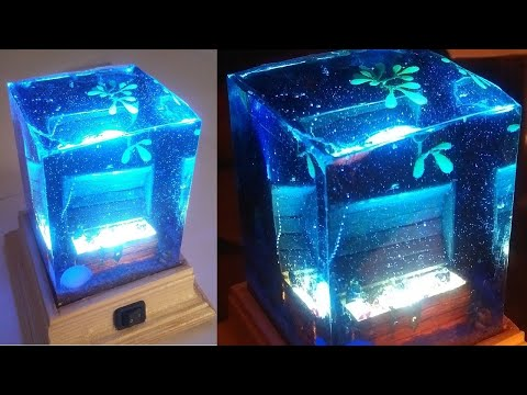 EPOXY RESIN WOOD L.E.D LAMP-treasure chest on sea bed - DIY