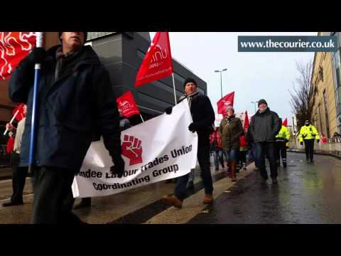 Trades union protest march in Dundee