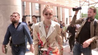 Gigi Hadid arriving at the Heron Preston Fashion Show in Paris