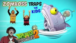 Zomboss Traps the Kids! Duddy to the Rescue! (Lets Play PVZ 2 BIG WAVE BEACH Battle) Gameplay thumbnail