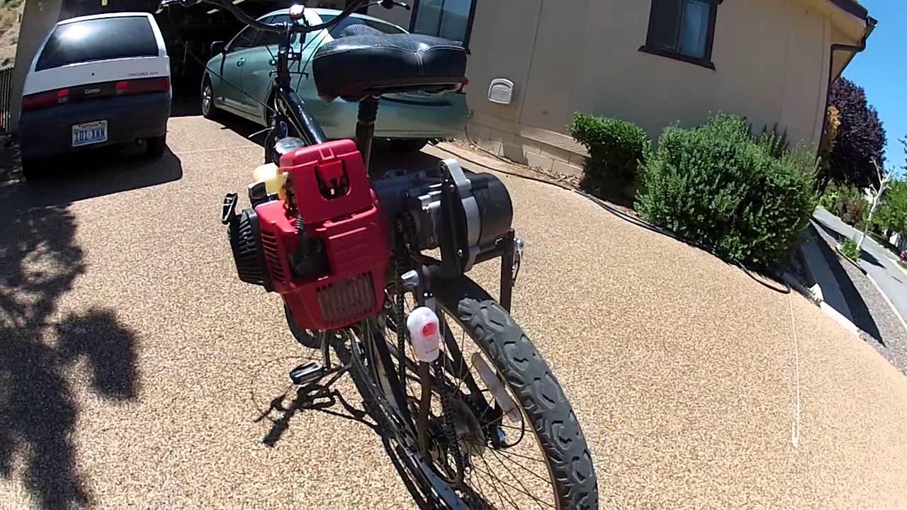 Honda Gx Engine On Bicycle With Pocketbike Cvt Transmission Youtube