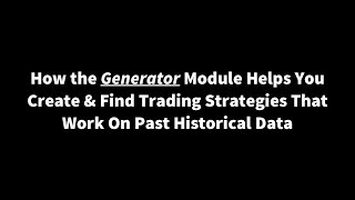 Forex Robot Factory - Create & Find Trading Strategies That Work On Past Historical Data