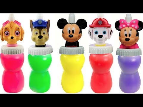 Learn Colors with Paw Patrol Mickey Mouse Slime Surprise Toys Colours   Fizzy Fun Toys